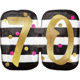 "Foil Balloon- 70th Birthday- 25"" x 20"""