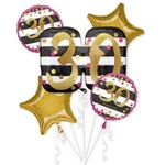 Foil Balloon Bouquet- 30th Birthday- 5pk
