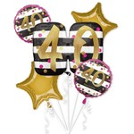 Foil Balloon Bouquet- 40th Birthday- 5 pk