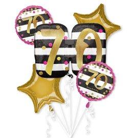 Foil Balloon Bouquet- 70th Birthday- 5 Balloons- 2.3ft