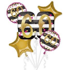 Foil Ballon Bouquet - 60th Birthday - 5 Balloons - 2.3ft