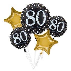 Foil Balloon Bouquet - 80th Birthday Sparkle - 5pk