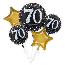 """Foil Balloons-5pc Bouquet-Sparkling """"70th"""" Birthday"""