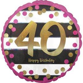 "Foil Balloon- 40th Birthday- 18"""