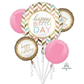 Foil Balloon-Bouquet Pastel Confetti celebration-5pk