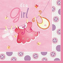 Luncheon Napkins- Baby shower- Pink Clothesline- 16pk/2ply- Discontinued