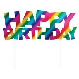 "Cake Topper-Happy Birthday-Rainbow Foil-7"" x 6"""