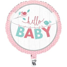 Foil Balloon - Hello Baby Girl 18""