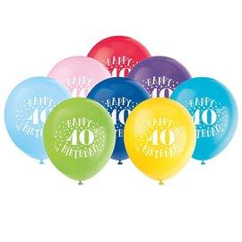 "Balloons-latex-Happy 40th Birthday-12""(8PK)"