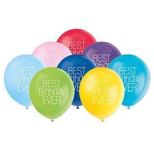 "Balloons-Latex-Best Birthday Ever-12""(8PK)"