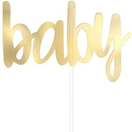 Cake Topper Pick - Baby - Gold