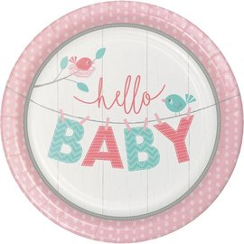 "Luncheon Paper Plates- Hello Baby Girl- 8pk-9"""