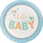 "Luncheon Paper Plates- Hello Baby Boy- 8pk-9"""