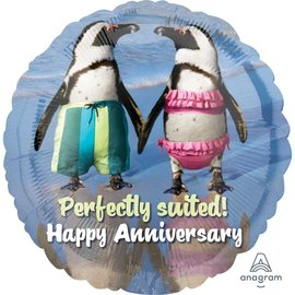 """Foil Balloon- Perfectly Suited! Happy Anniversary- 18"""""""