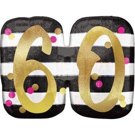 "Foil Balloon- 60th Birthday- 25"" x 20"""