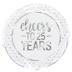 """Foil Balloon - Cheers To 25 Years - 18"""""""