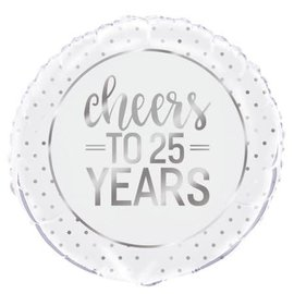 Foil Balloon - Cheers To 25 Years - 18""
