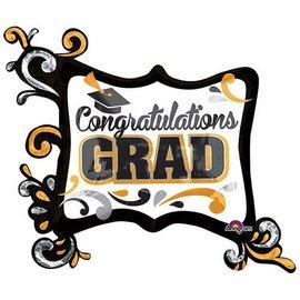 """Foil Balloon- Congratulations Grad- 34"""" x 29"""""""