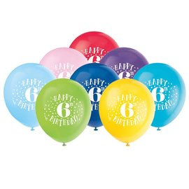 "Balloons - Latex - Happy 6th Birthday - 12"" (8PK)"