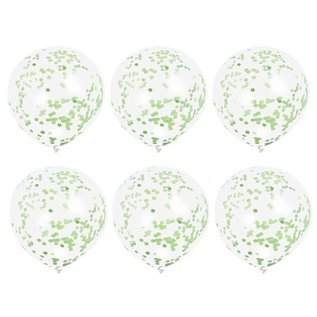 """Balloons-Latex-Clear with Green Confetti-12""""(6PK)"""