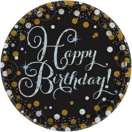 Luncheon Paper Plates- Happy Birthday- Sparkling Celebration- 8pk/9""
