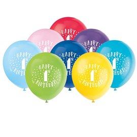 "Balloons - Latex - Happy 1st Birthday - 12"" (8 PK)"