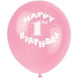 "Balloons-Latex-1st Birthday Pink- 8pk-12"""