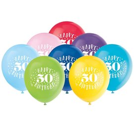 "Balloons - Latex - Happy 50th Birthday - 12"" (8 PK)"