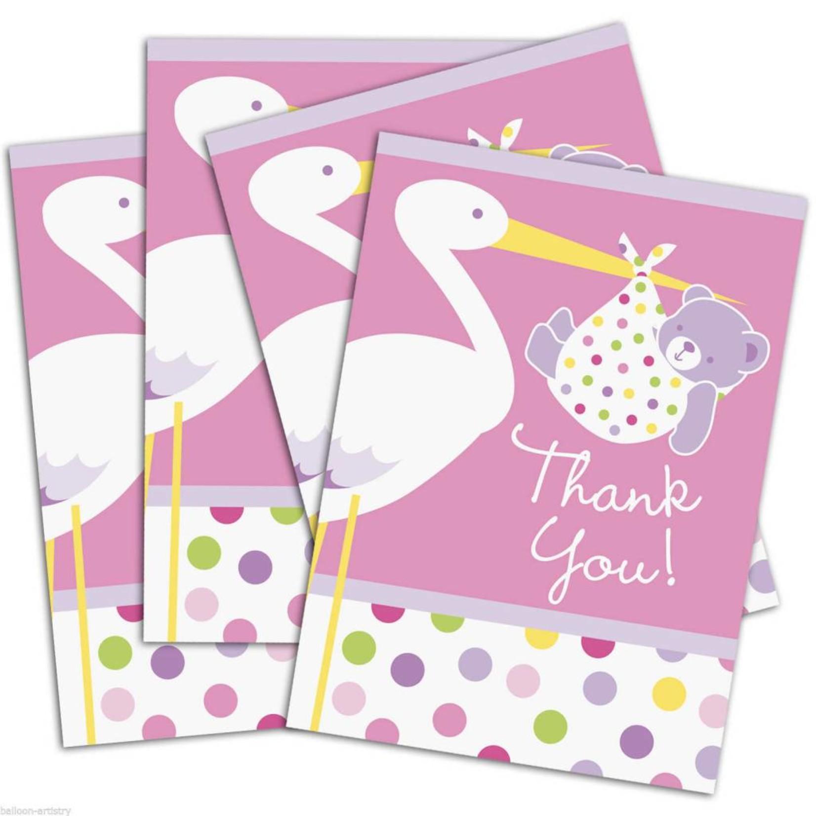 Baby Thank You Cards- Girl- 8pk