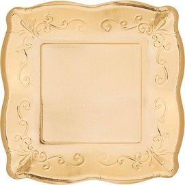 """Dinner Paper Platess-Embossed-Gold-8pk-10 """""""