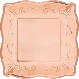 Dinner Paper Plates-Embossed-Rose Gold-8pk-10""