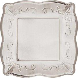 "Dinner Paper Plates-Embossed-Metallic Silver- 8pk-10"""