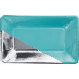 Appetizer Plates-Caribbean Blue & Silver