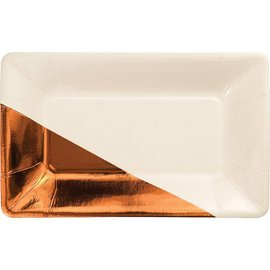 Appetizer Plates-Ivory & Copper