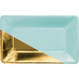 Appetizer Plates-Mint & Gold