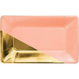 Plates- Appetizer- Coral & Gold- 8pk
