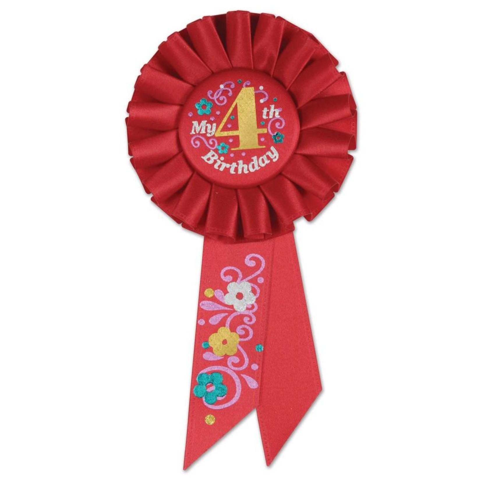 Award Ribbon- My 4th Birthday- Rosette