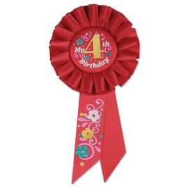 Award Ribbon- My 4th Birthday- Rosette