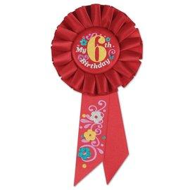 Award Ribbon- My 6th Birthday- Rosette