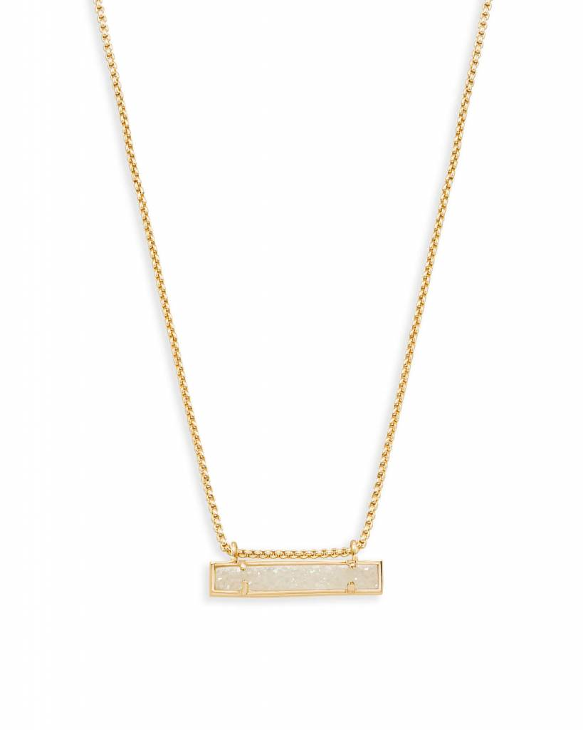 Leanor Bar Pendant Necklace in Iridescent Drusy