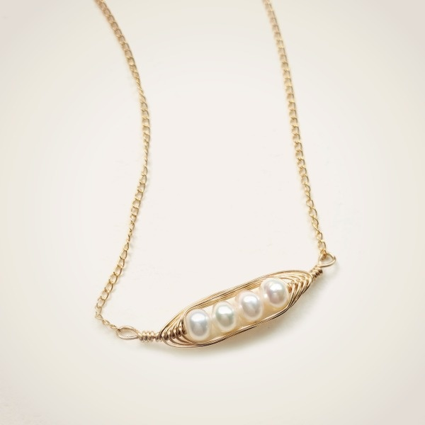 Gold Horizontal Pea Pod Necklace