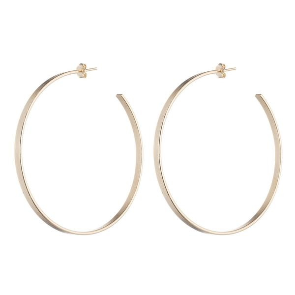 Thin Flat Hoops in Champagne