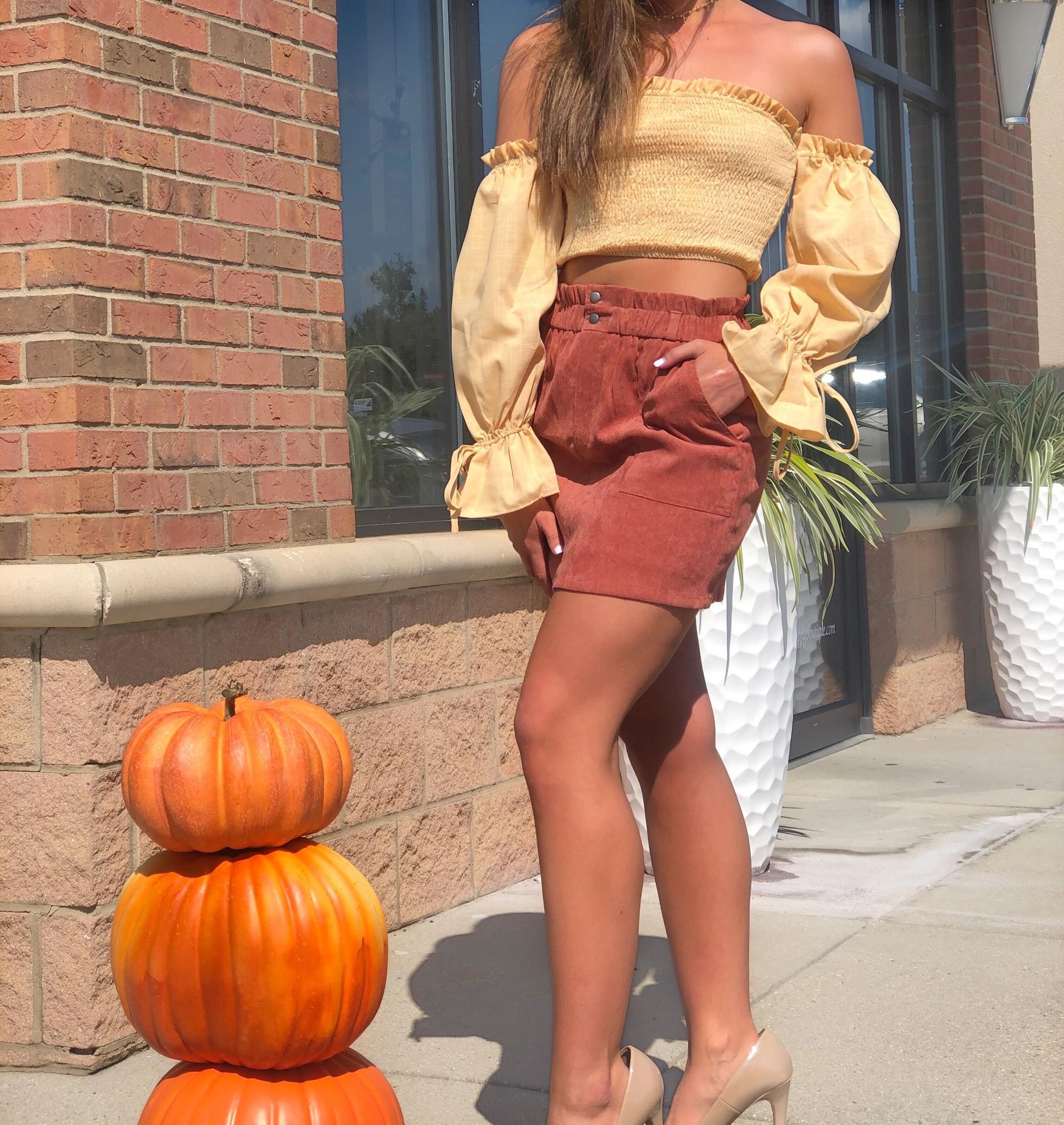 Elastic Waist Coroduroy Bag Skirt