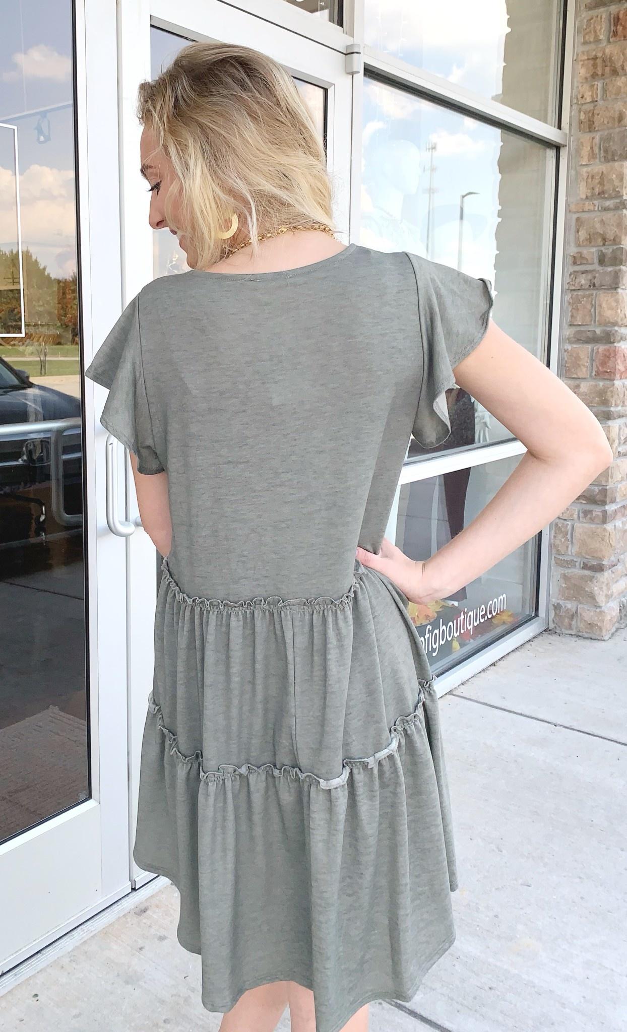 Solid Frill Detail SS Knit Dress