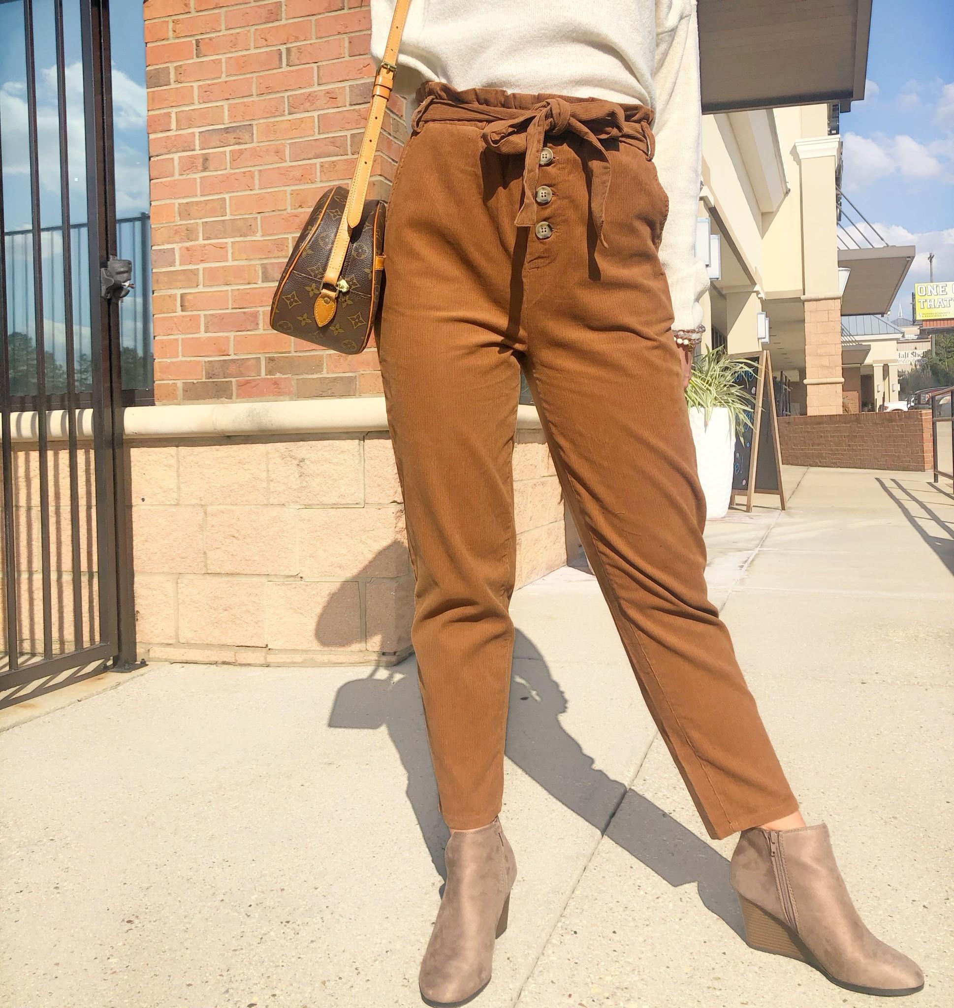 Straight Leg Pants w/ Elastic Tie Waist