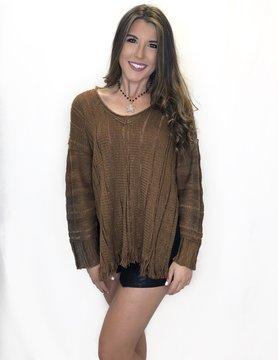 Pecan Fringe Sweater