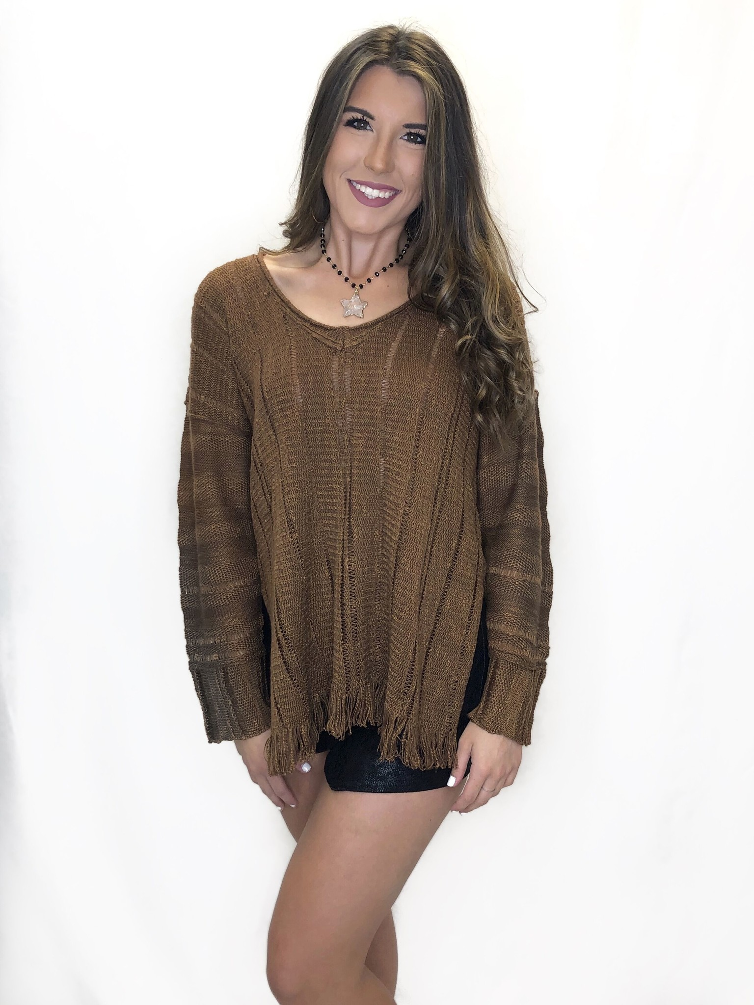 Pecan Fringe Sweater