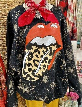 Black Rolling Stones Bleached Sweatshirt