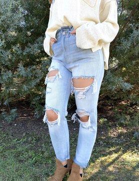 High Rise Mom Jeans w/ Elastic Waist Band
