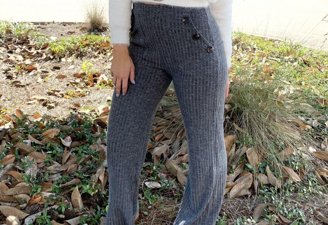 Mineral Wash Bell Bottom Pants w/ Elastic Waist